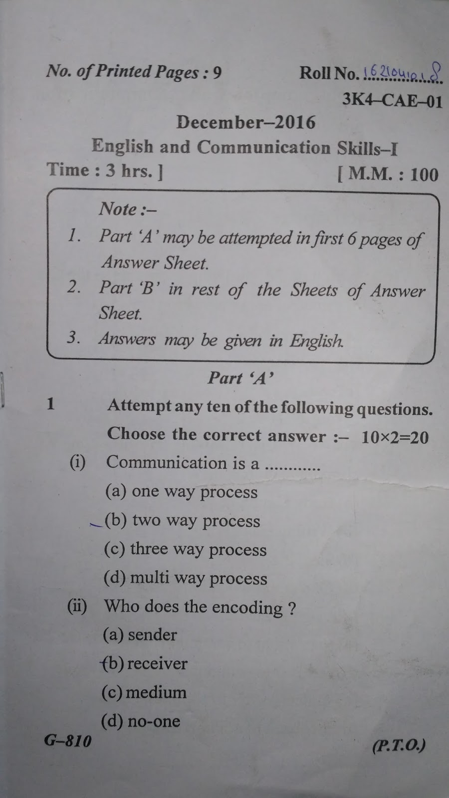 Question Paper of English and Communication Skills-I (December-2016) of Civil Engineering, 1st Semester, 1st Year, Polytechnic BTE Delhi