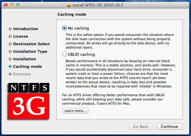 Enable write support to NTFS  format under Mac OS X