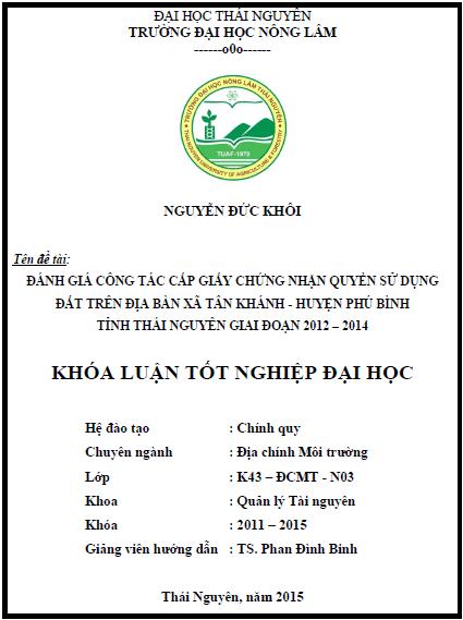 Đánh giá công tác cấp Giấy chứng nhận quyền sử dụng đất trên địa bàn xã Tân Khánh huyện Phú Bình giai đoạn 2012 – 2014