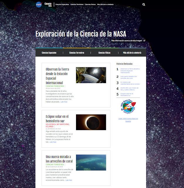 Nuevo sitio para la Ciencia. Portal de la NASA