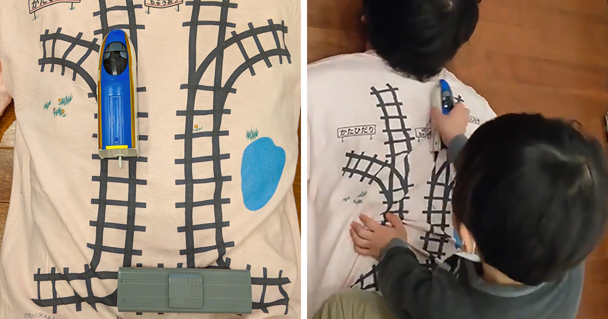 A Dad Created An Awesome T-Shirt So That His Kid Plays And Gives Him A Massage At The Same Time