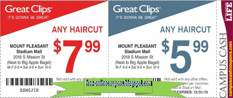 You can take Great Clips printable coupons with you by saving them to your mobile device or printing them out. Highlights for Great Clips A new hairstyle shouldn't have to be a financial investment.