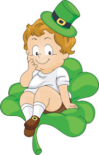 Clipart Image of a Cute Little Child Wearing a Green Irish Hat and Sitting on a Shamrock