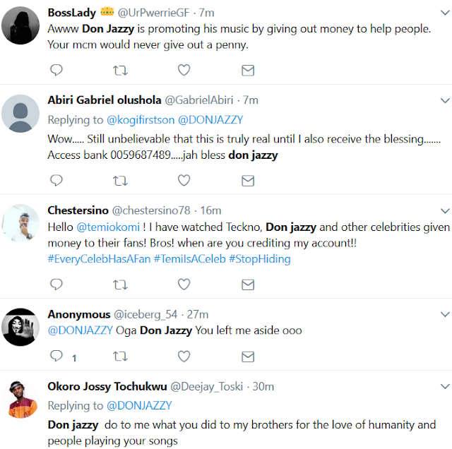 Don Jazzy doles out money to fans...