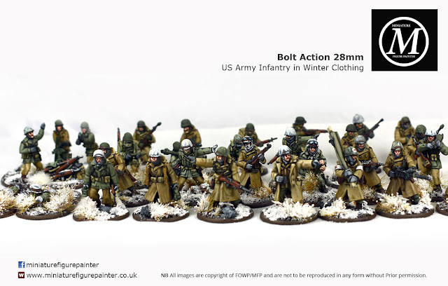 Bolt Action 28mm painted Ardennes US army on patrol (winter dress etc)