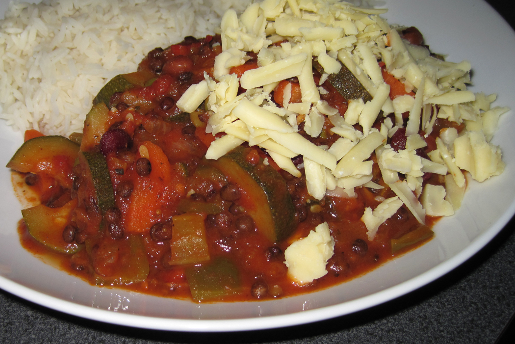 Easy Chilli with Vegetables and Puy Lentils and Rice