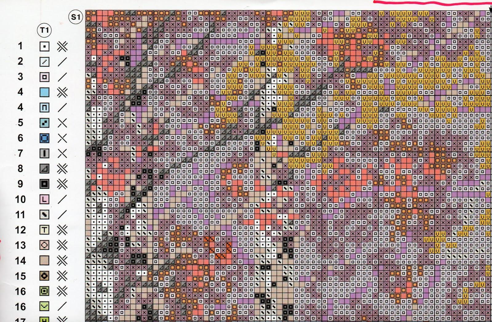 схема вышивки крестом нежность риолис
