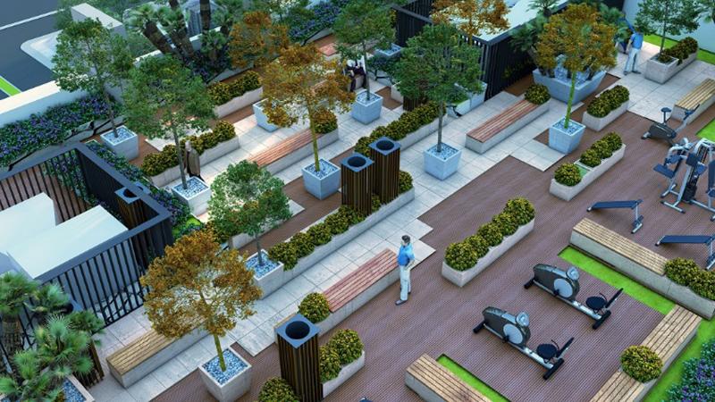 Khuôn viên cây xanh tầng thượng Mỹ Đình Plaza 2
