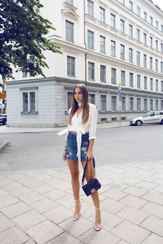 Kenza - Patch Denim Skirt, Chanel Boy Bag, Perspex Clear Boots