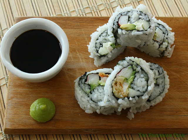 Fresh homemade sushi with soy sauce and wasabi