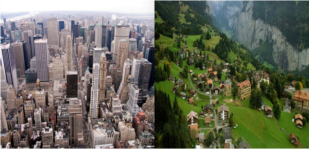 The difference between the countryside and the city