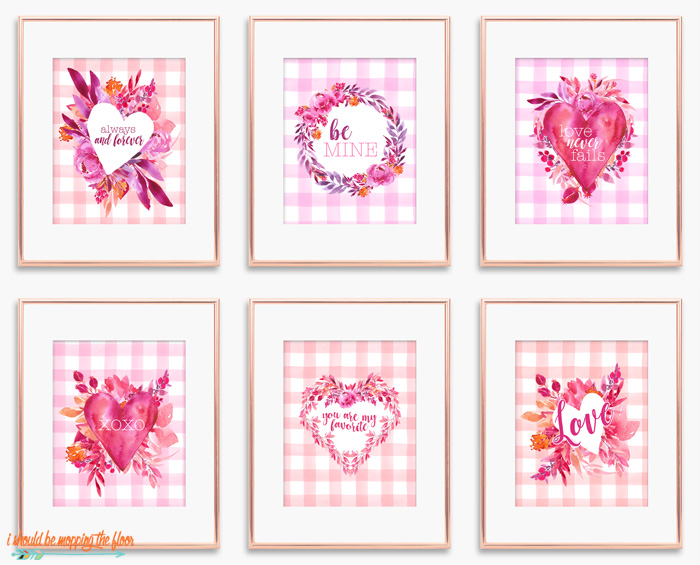 Six Watercolor Valentine's Printables