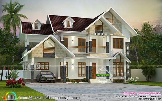 Grand sloped roof home plan 2498 square feet