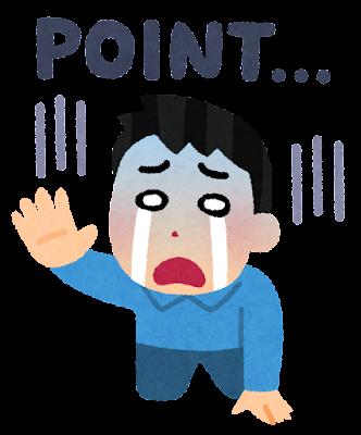 ポイントに悲しむ人のイラスト(男性)