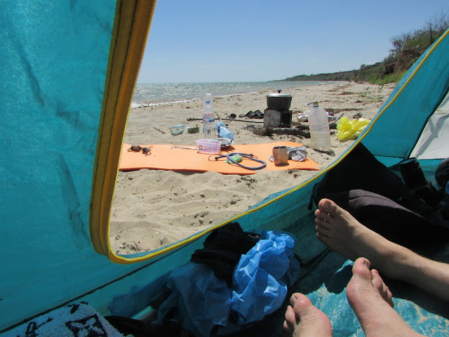 вид из палатки на море