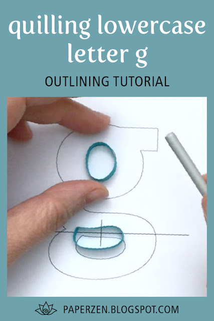 quilling lowercase letter g - how to outline tutorial and pattern