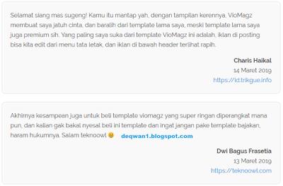 Testimoni pengguna viomagz blogger template 2019
