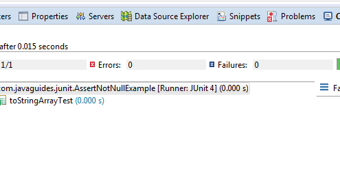 JUnit Assert assertNotNull() Method Example