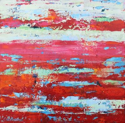Tableau, abstrait, peinture écaillée
