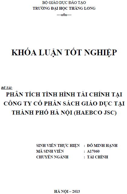 Phân tích tình hình tài chính tại Công ty Cổ phần sách Giáo dục tại thành phố Hà Nội (HAEBCO JSC)