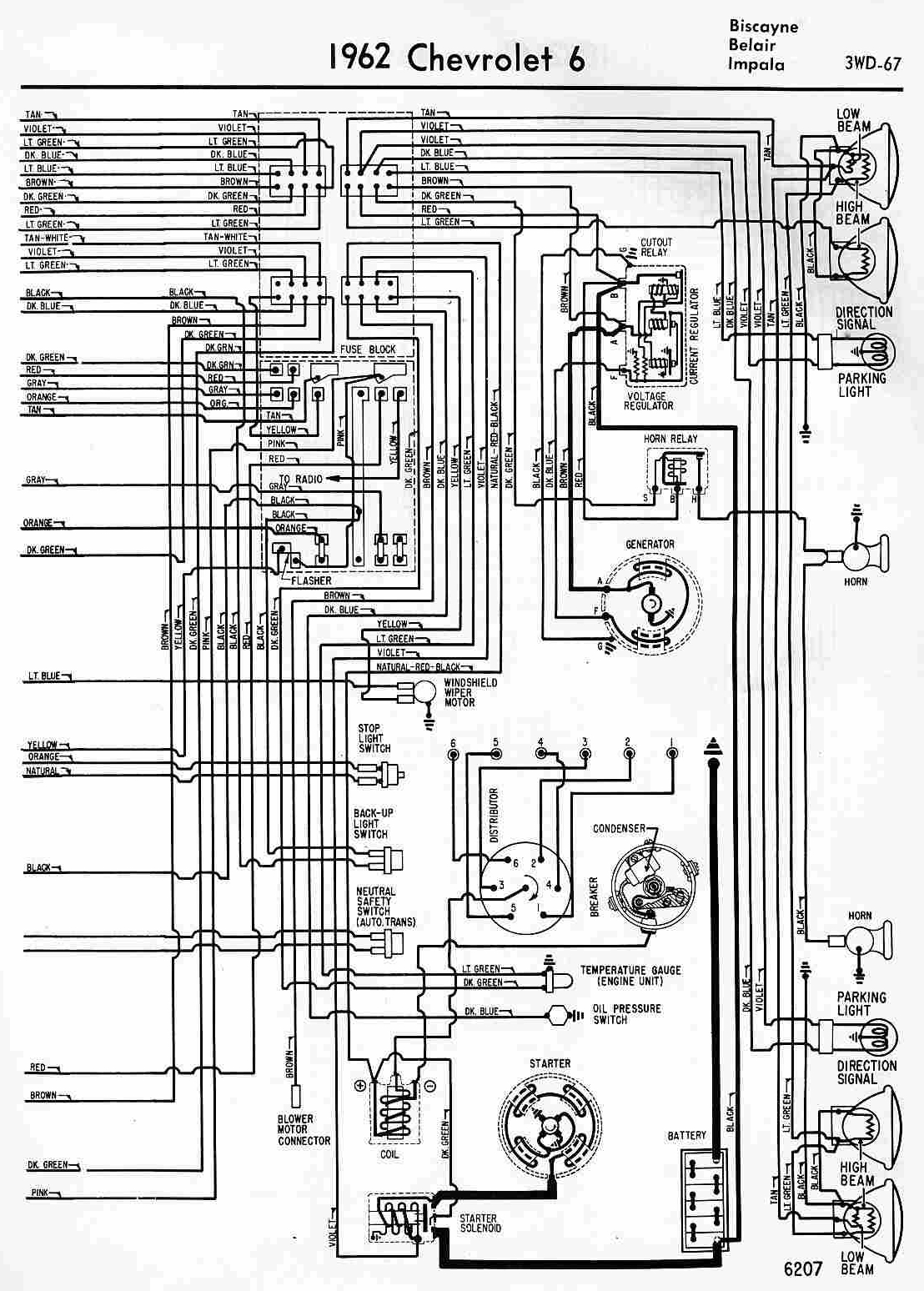 1962 Chevrolet 6 Biscayne, Belair and Impala Wiring Diagram | All about Wiring Diagrams