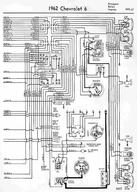 1962 Chevrolet 6 Biscayne, Belair and Impala Wiring Diagram | All about Wiring Diagrams