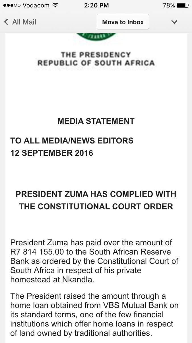 Confirmed Jacob Zuma Has Paid Back The R7 8m