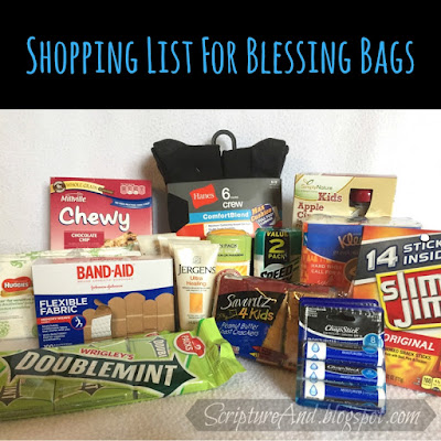 Contents of Blessing Bags for the Homeless | scriptureand.blogspot.com