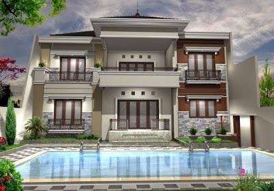 desain rumah mewah 2 lantai dengan kolam renang & Foto Rumah Mewah 1 dan 2 Lantai Di Indonesia 2017 - Foto Rumah Mewah ...