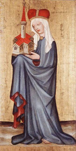 Santa Eduvigis sosteniendo la maqueta de una iglesia.