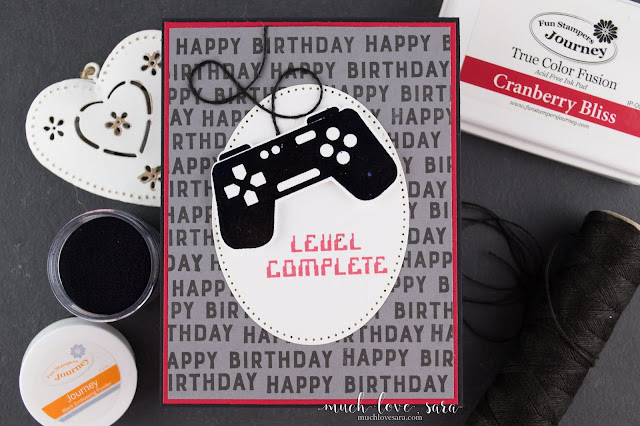 This fun birthday card is perfect for a video gamer.  Created using Fun Stampers Journey Game On ATS stamp set.