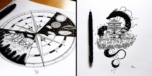 00-Tímea-Tellér-Ink-Black-and-White-Illustrations-www-designstack-co