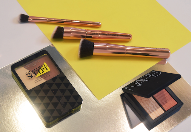 Royal contour brush set, L'oreal infallible sculpt, Nars frenzy dual intensity blusher.