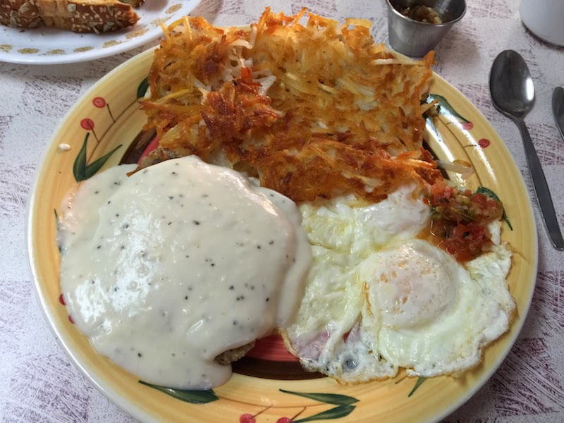 Country fried steak and eggs at Country Kitchen in Joshua Tree