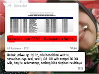 Jadwal dan Nama Peserta UJIAN CAT CPNS 2018 - Kabupaten Solok, Download Disini !!!