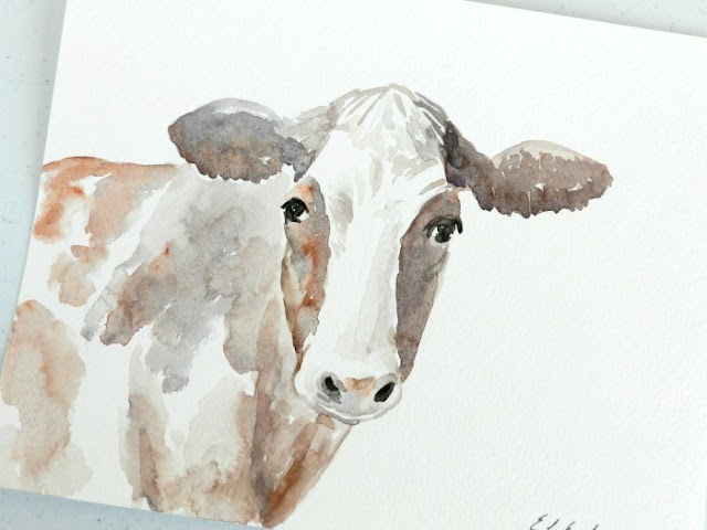 watercolor cow painting by Elise Engh: Grow Creative Blog