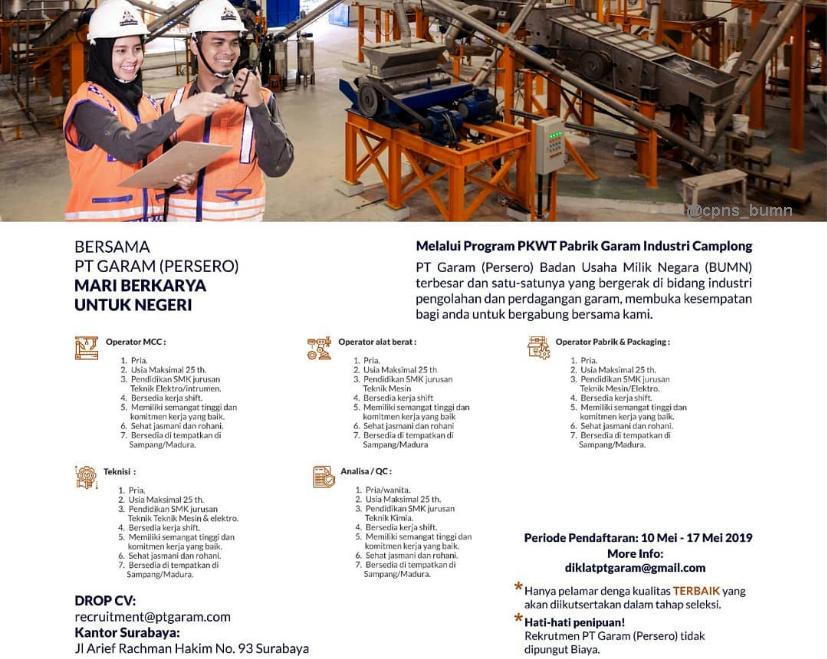 Lowongan Kerja BUMN PT GARAM (Persero) Mei 2019