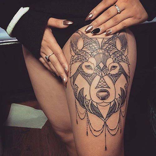 kadın üst bacak kurt dövmesi woman thigh wolf tattoo