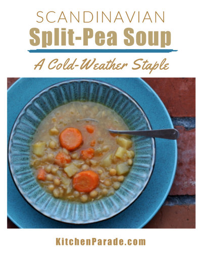 Scandinavian Split-Pea Soup ♥ KitchenParade.com, the classic Scandinavian recipe made with dried split peas on Thursdays across Sweden and Finland. Hearty comfort food, great for a crowd or a houseful, either meaty or vegan. Weight Watchers friendly!