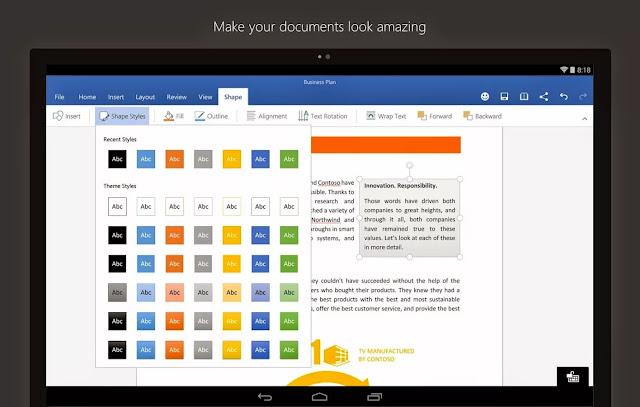 تحميل مايكروسوفت وورد للاندرويد Microsoft Word for android