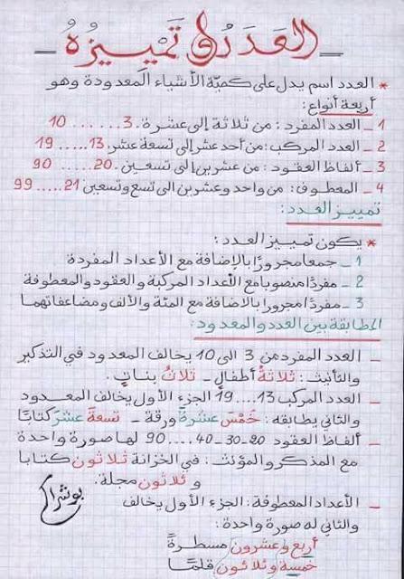 ملخص درس العدد وتمييزه الخامس و السادس