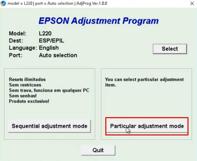 Particular adjustment mode epson