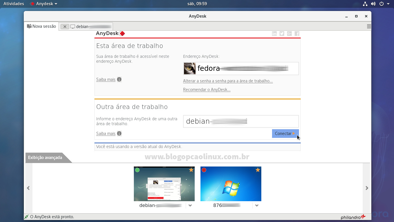 AnyDesk executando no Fedora Workstation