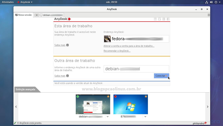 AnyDesk executando no Fedora Workstation
