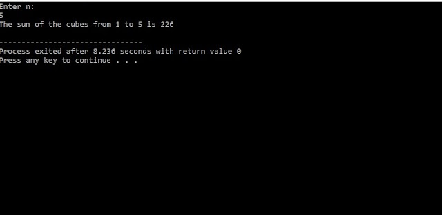 C Program to find sum of cubes of n numbers
