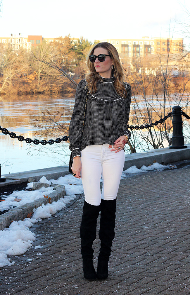 White Jeans and Over the Knee Boots