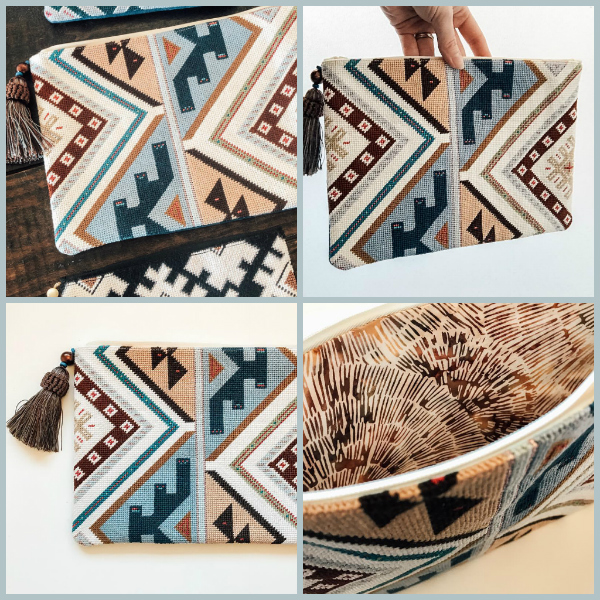 Geometric needlepoint clutch in earthy colours by Pewter & Pine