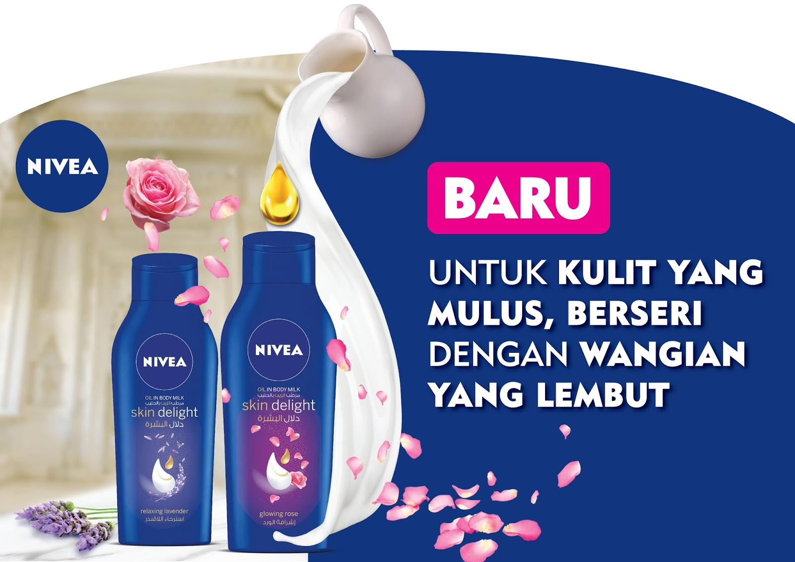 nivea skin delight body milk, nivea losyen baru, harga promosi, glowing rose, relaxing lavender
