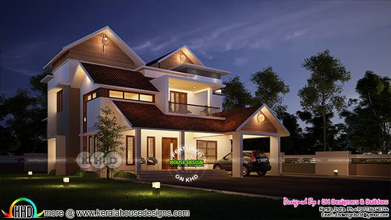 Night view of Modern sloping roof home