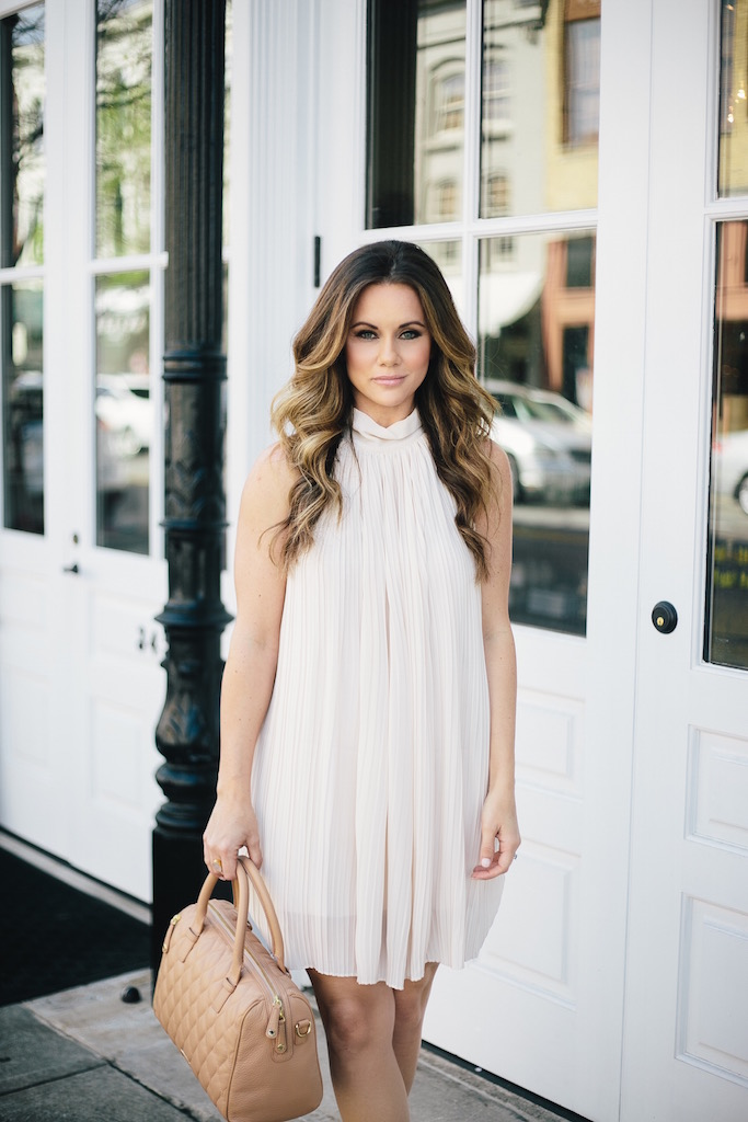 KBStyled: cream dress pleated dress halter dress